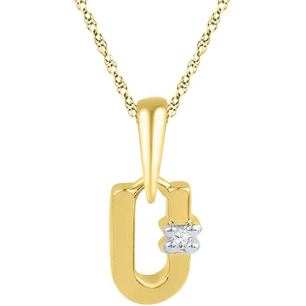 Jpearls Gold Alphabet U Diamond Pendent