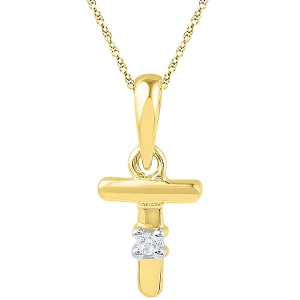 Jpearls Gold Alphabet T Diamond Pendent