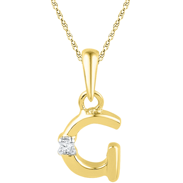 Jpearls Gold Alphabet G Diamond Pendent