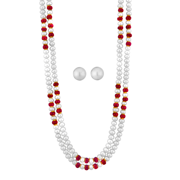 Jpearls Ruby & Pearl Necklace Set