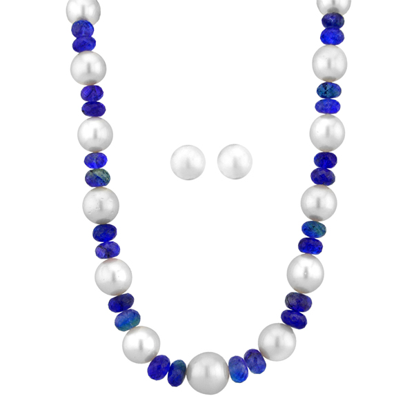 Jpearls Bluestone Pearl Necklace Set