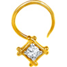 Jpearls Diamond and Gold Square Nose Pin