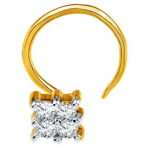 Jpearls Diamond and Gold Radhika Nose Pin