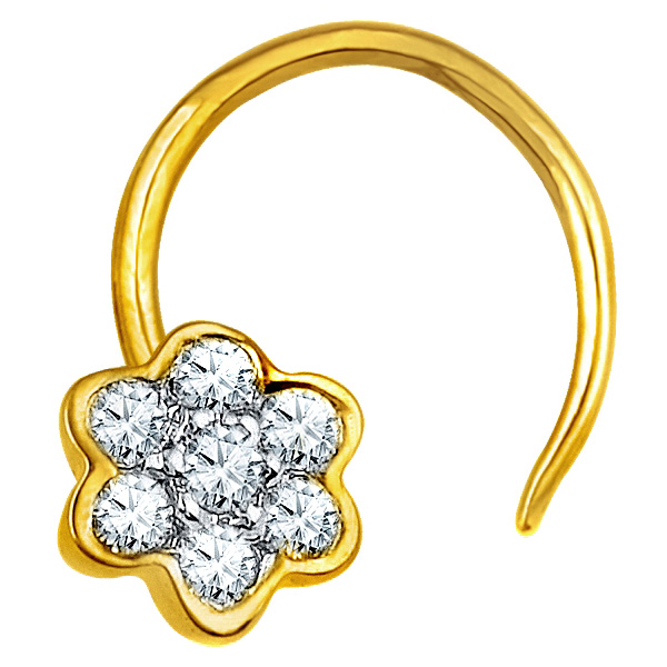 Jpearls Diamond and Gold Sitara Nose Pin