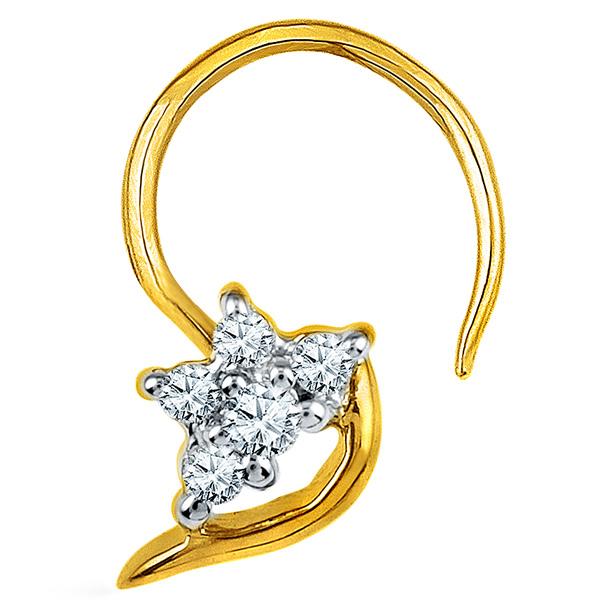 Jpearls Diamond and Gold Mahi Nose Pin