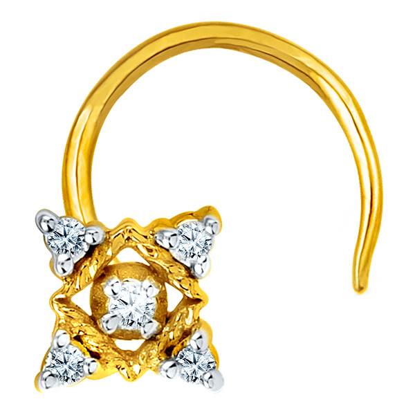 Jpearls Diamond and Gold Angel Nose Pin