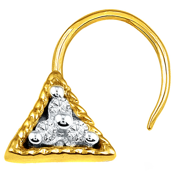 Jpearls Diamond and Gold Tri-Star Nose Pin