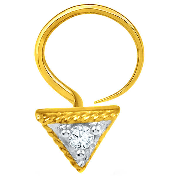 Jpearls Diamond and Gold Triangle Nose Pin