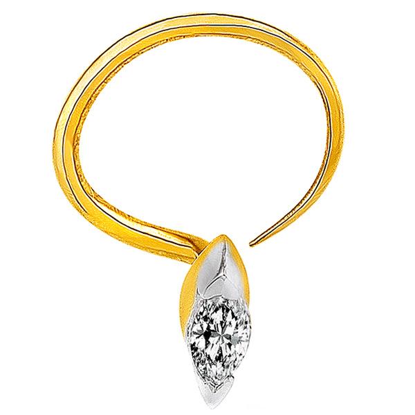 Jpearls Diamond and Gold Single Diamond Nose Pin