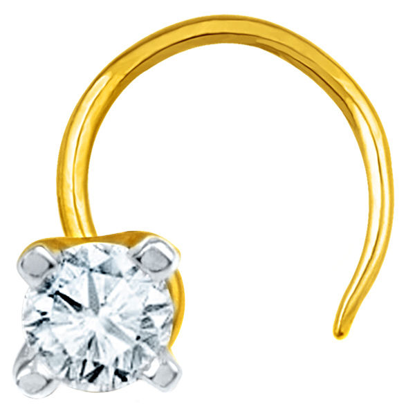 Jpearls Diamond and Gold Sparking Nose Pin