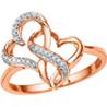 Jpearls�Rose Gold Heart�Diamond Ring