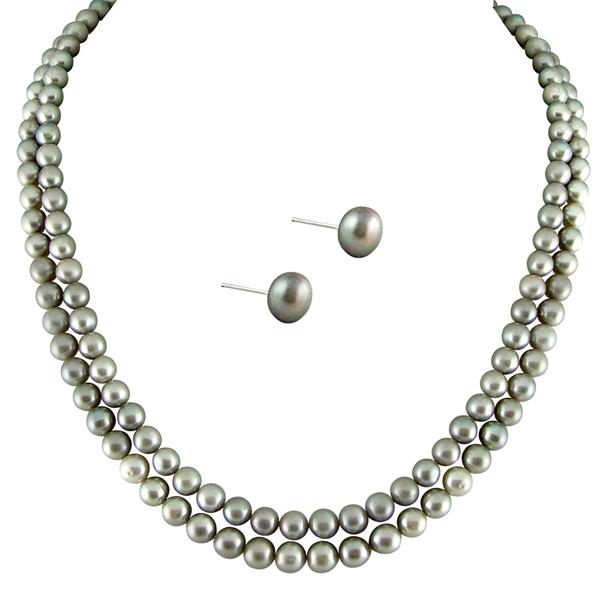Pearl Sets-Jpearls Full Grey 2 String Pearls Set