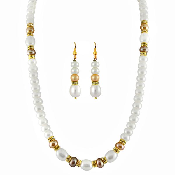 Jpearls Peach & White Pearls Set