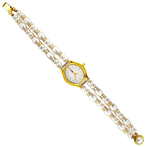 Jpearls Two String Cz Pearl Watch