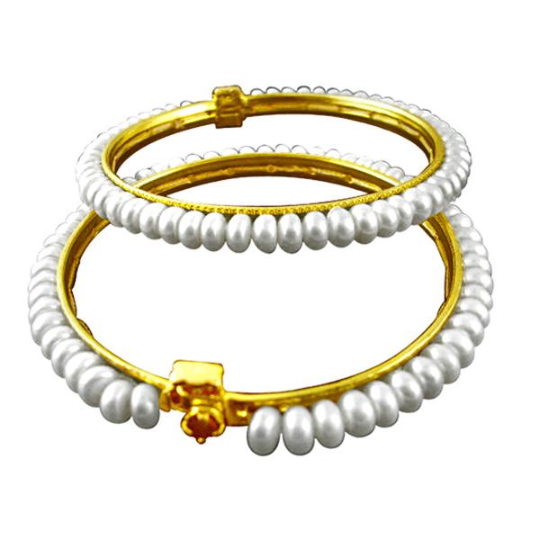 Jpearls White Pearl Bangles