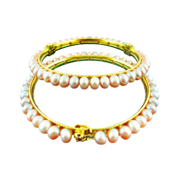 Pearl Bangles-Jpearls Peach Pearl Bangles