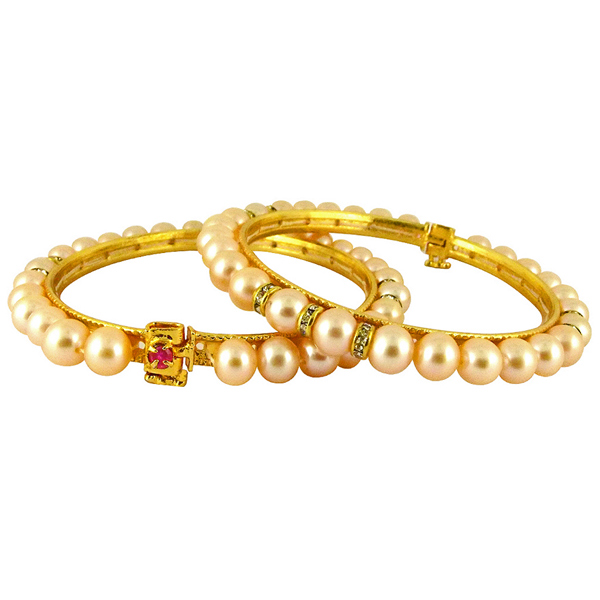 Jpearls Peach Color Button Pearl Bangles