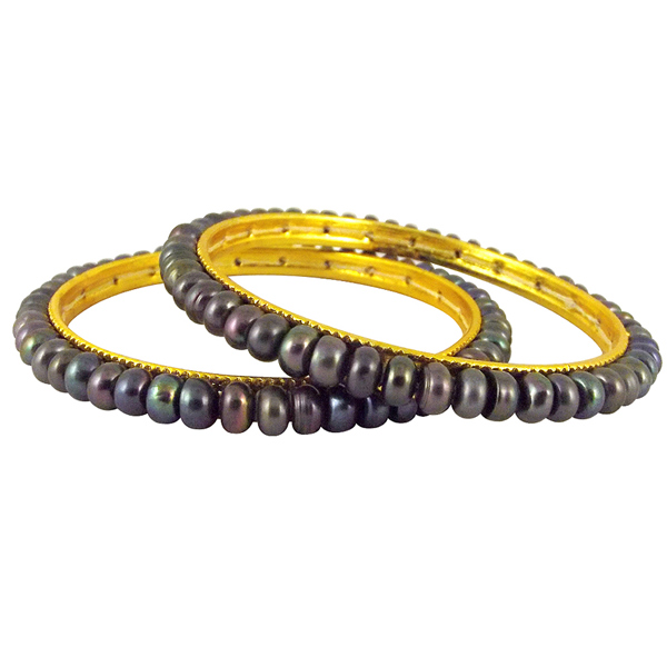 Jpearls Grey Button Pearl Bangles