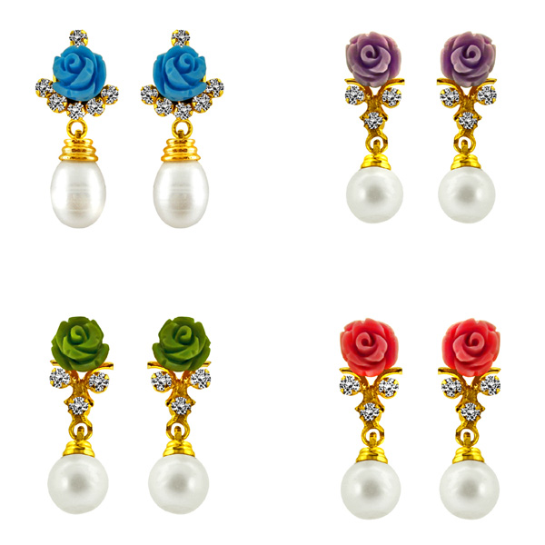 Jpearls Multi Coloured Rose Pearl Earrings