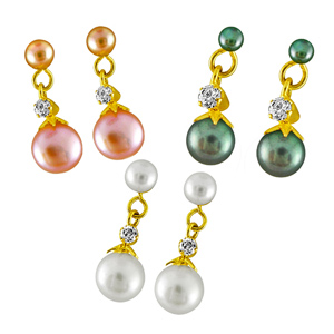 Pearl Earrings-Jpearls Combo of Three Earrings Pearl Colour