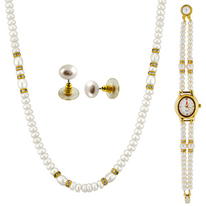 Jagdamba-Jpearls Simple Necklace With A Watch