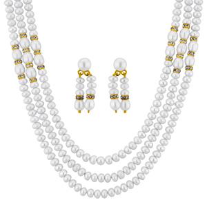 Pearl Sets-Jpearls Enchanting 3 Line Necklace Set