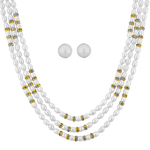 Pearl Sets-Jpearls Ziva 3 Line Necklace Set