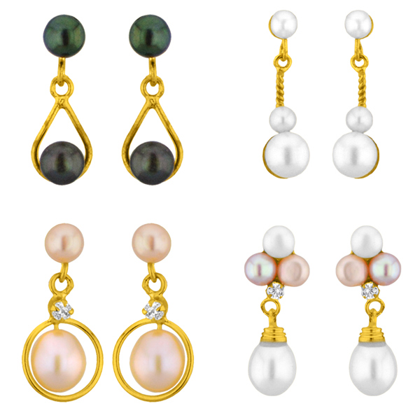 Jpearls Set of 4 Pearl Earrings Combo