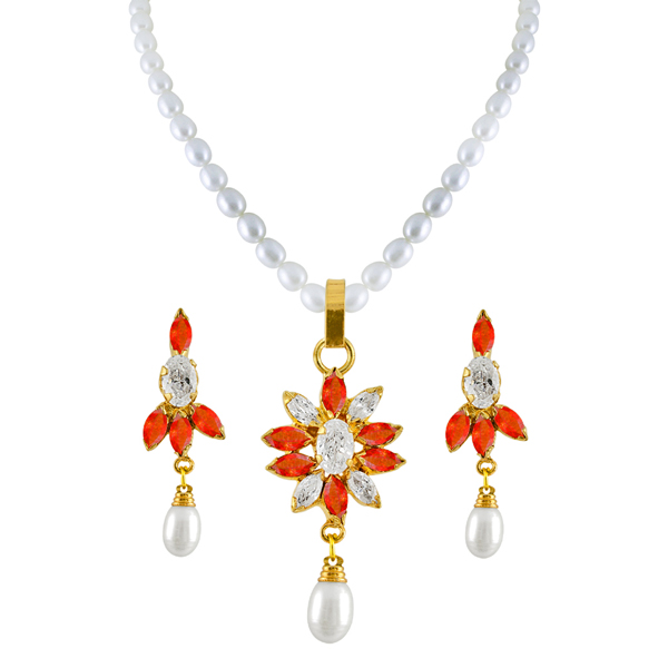 Jpearls Flower Pearl Pendant Set