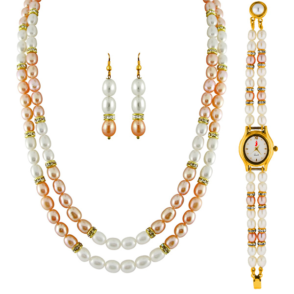 Jpearls 2 Line Necklace Set With Watch:
