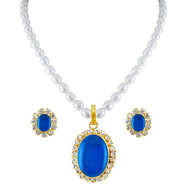 Jpearls Blue Drop Pearl Pendant Set