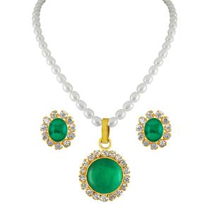 Pearl Sets-Jpearls Green Drop Pearl Pendant Set