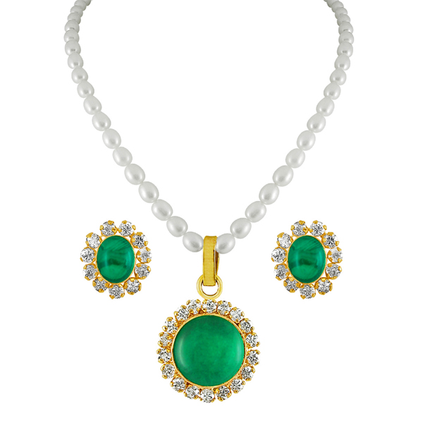 Pearl Sets-Jpearls Green Drop Pearl Pendant Set