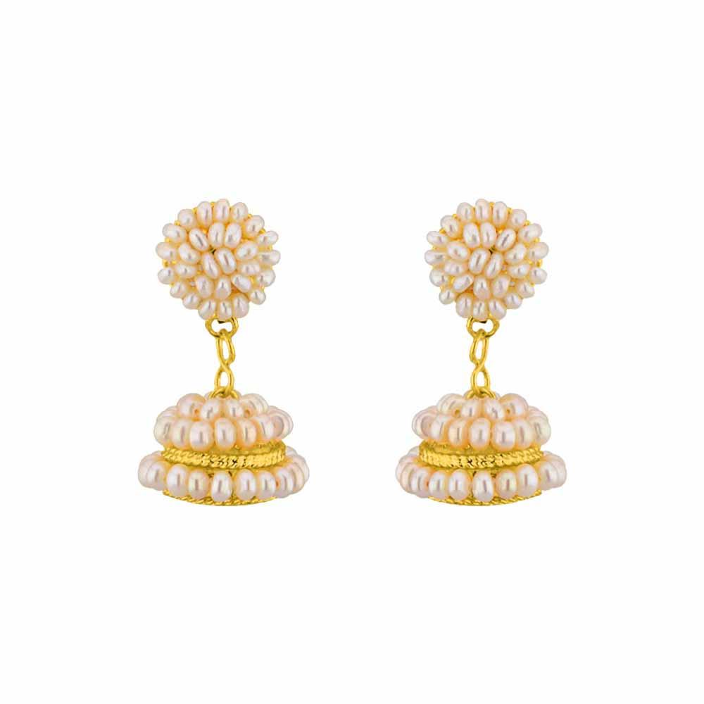 Pearl Earrings-Jpearls Magnificent Pearl Jhumkis