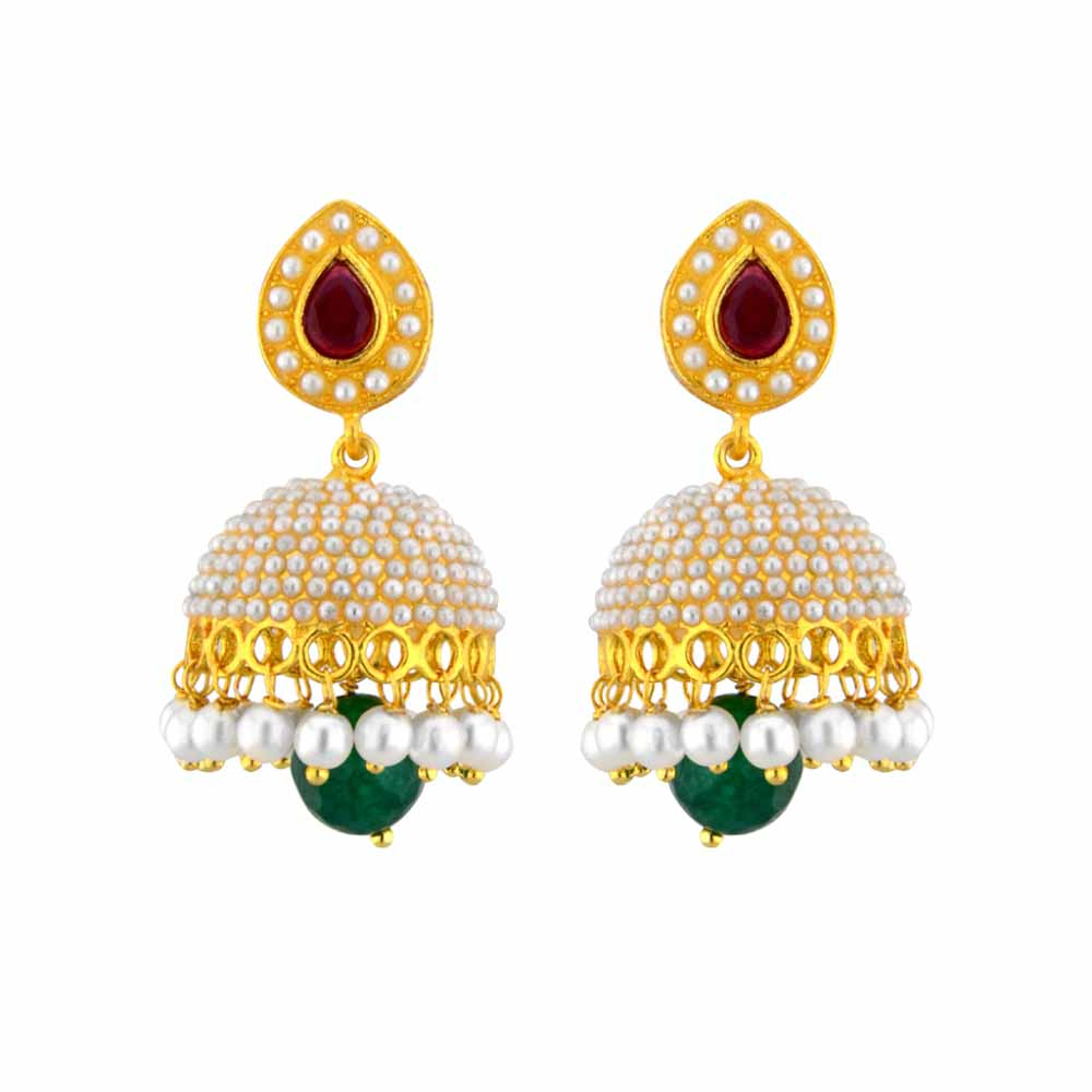 Pearl Earrings-Jpearls Ethnic Kundan Pearl Jhumkis