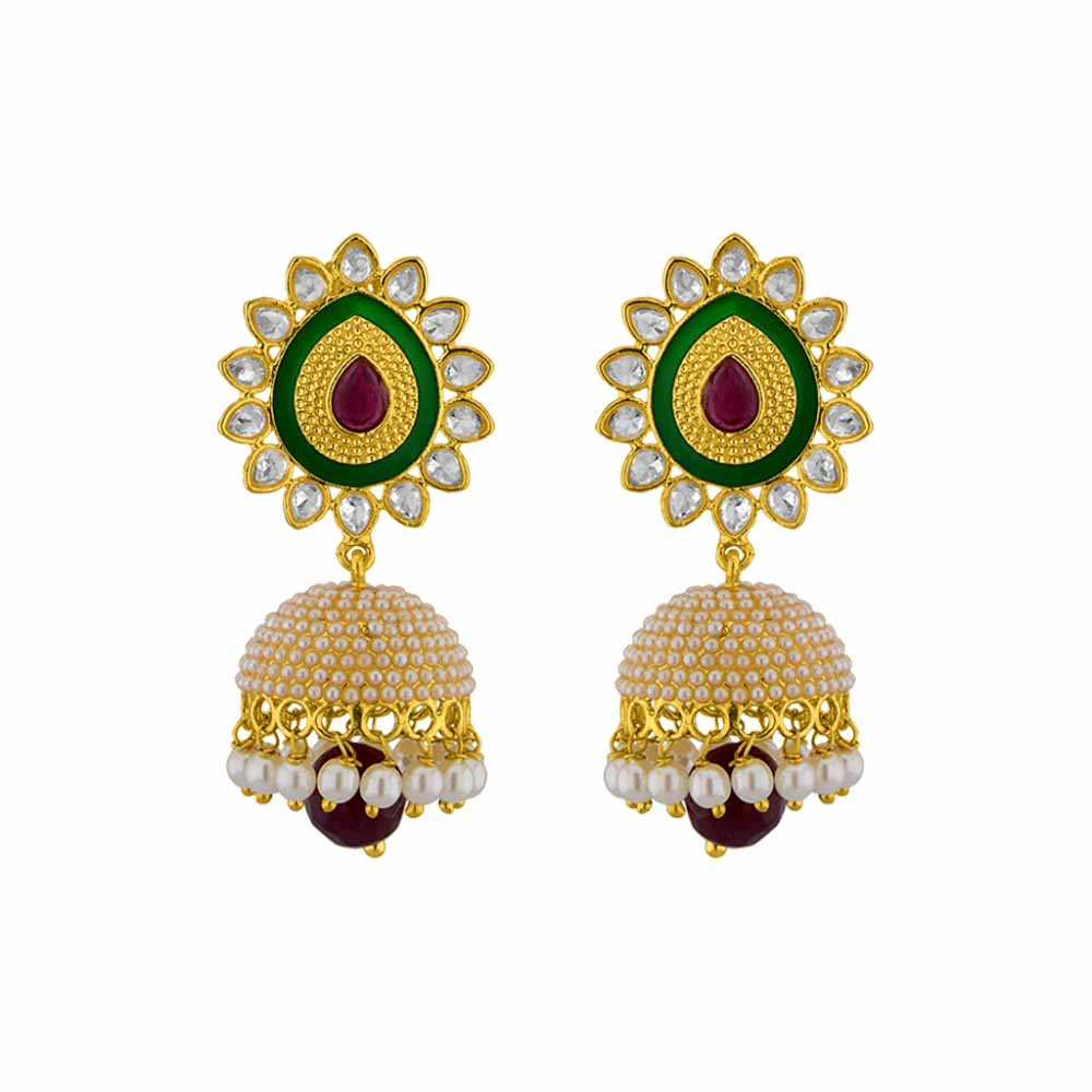 Pearl Earrings-Jpearls Ethnic Kundan Pearl Jhumkis