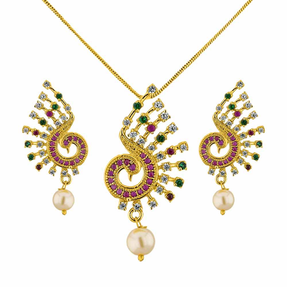 Jagdamba Pearls Trendy Peacock Pendant Set