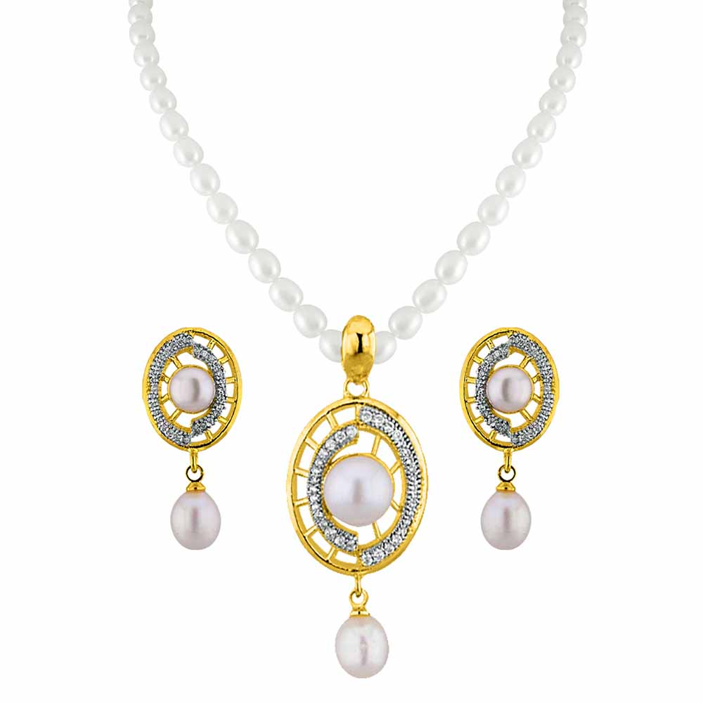 Jagdamba Pearls Charming Pearl Pendant Set