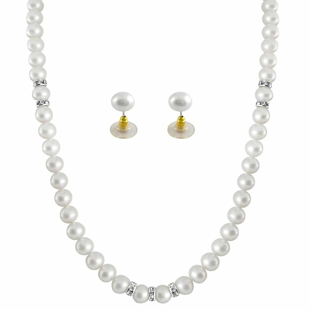 Jagdamba Pearls White Single line pearl necklace