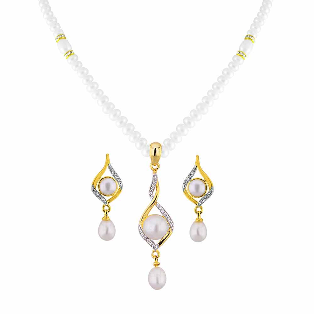 Jagdamba Pearls Stunning Pendant Set