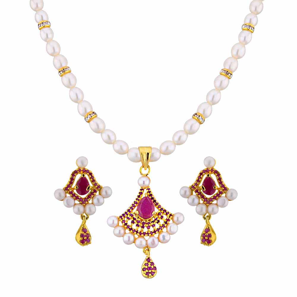 Jagdamba Pearls Awesome Pearl Pendant Set