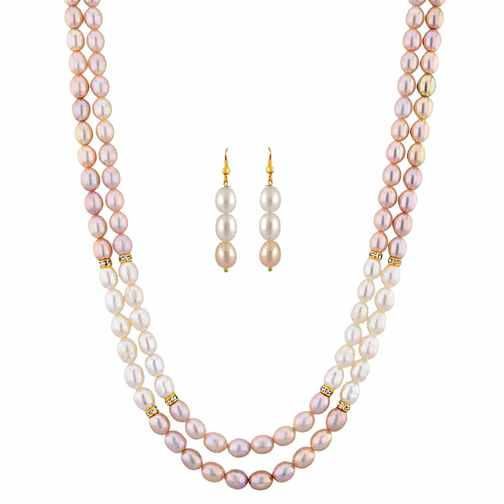 Jagdamba Pearls Crusty Pearl Necklace Set
