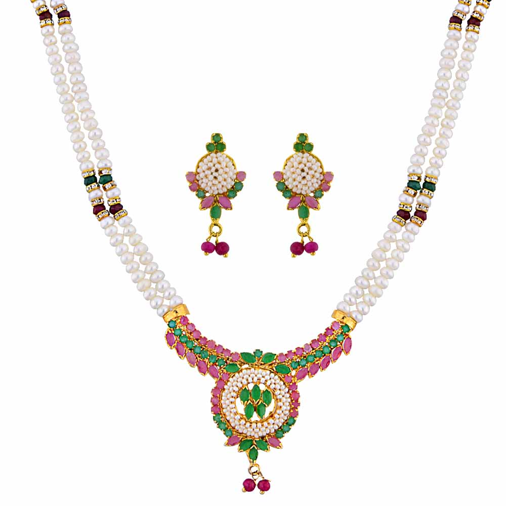 Jagdamba Pearls graceful Pearl Necklace Set