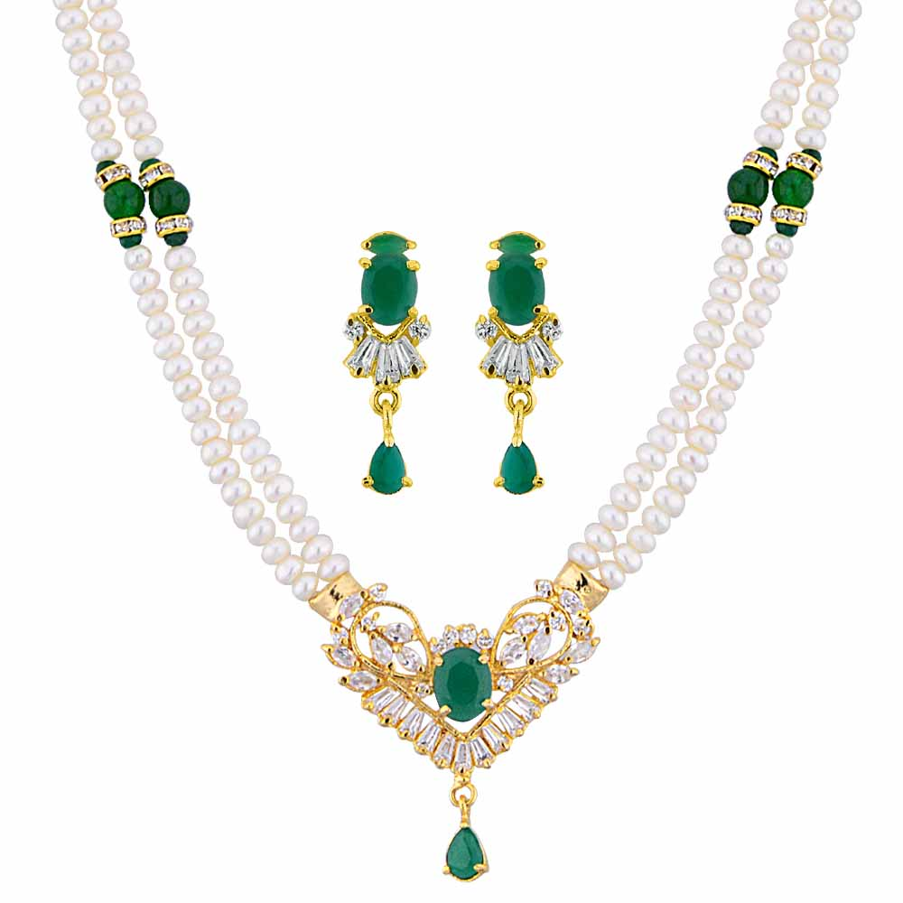 Jagdamba Pearls Azure Pearl Necklace Set