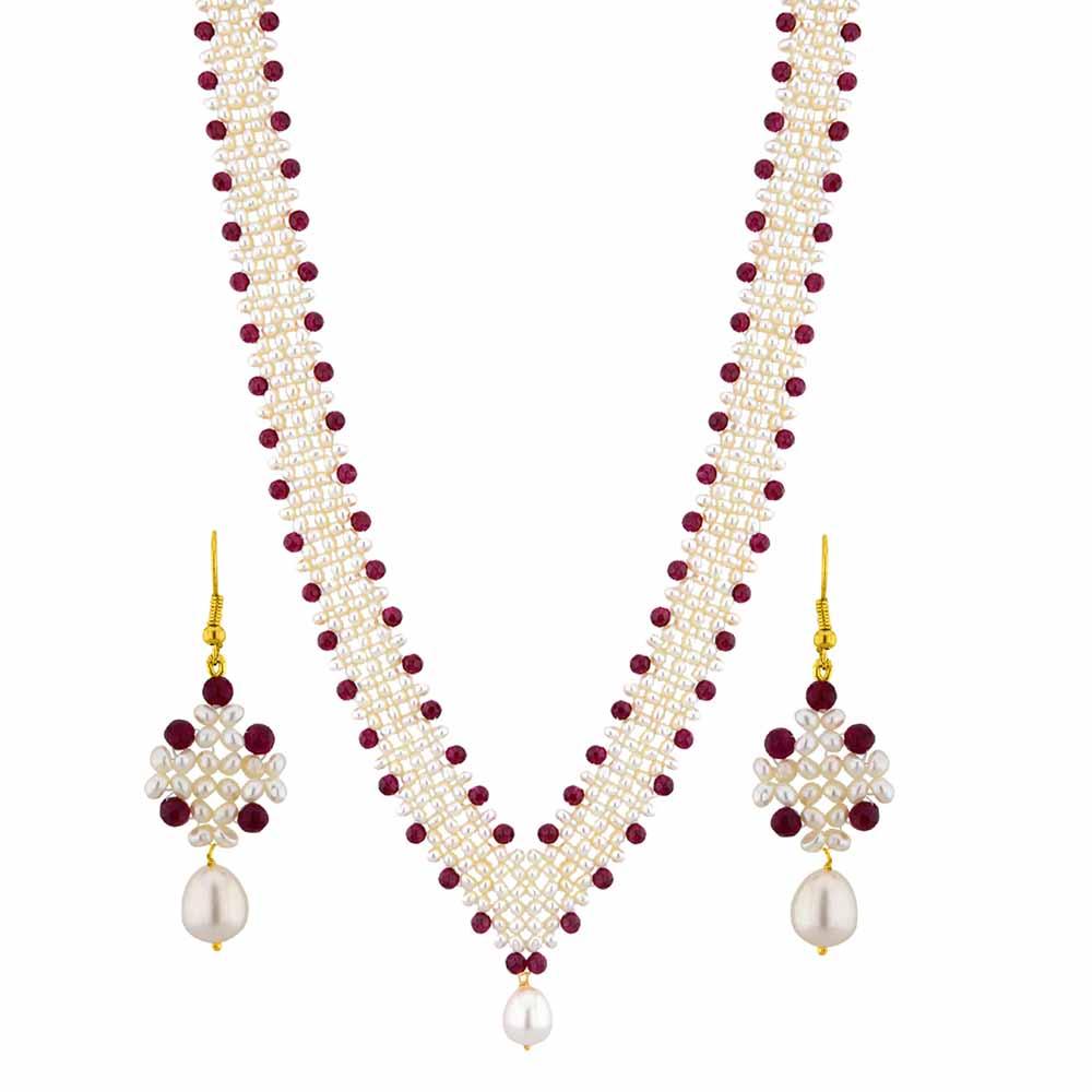 Jagdamba Pearls Dazzling Pearl Necklace Set