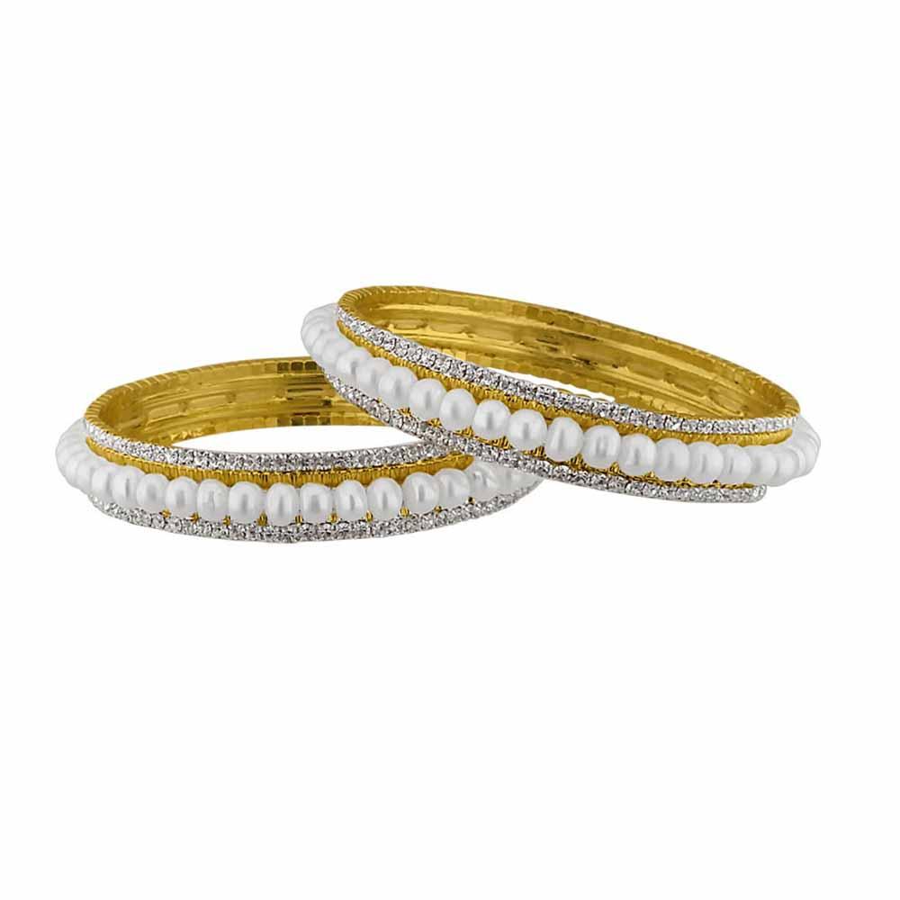 Sri Jagdamba Pearls Button Pearl with Cz Bangles