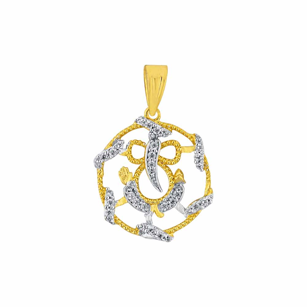 Diamond Pendants-Sri Jagdamba Pearls Omkara Diamond Pendant