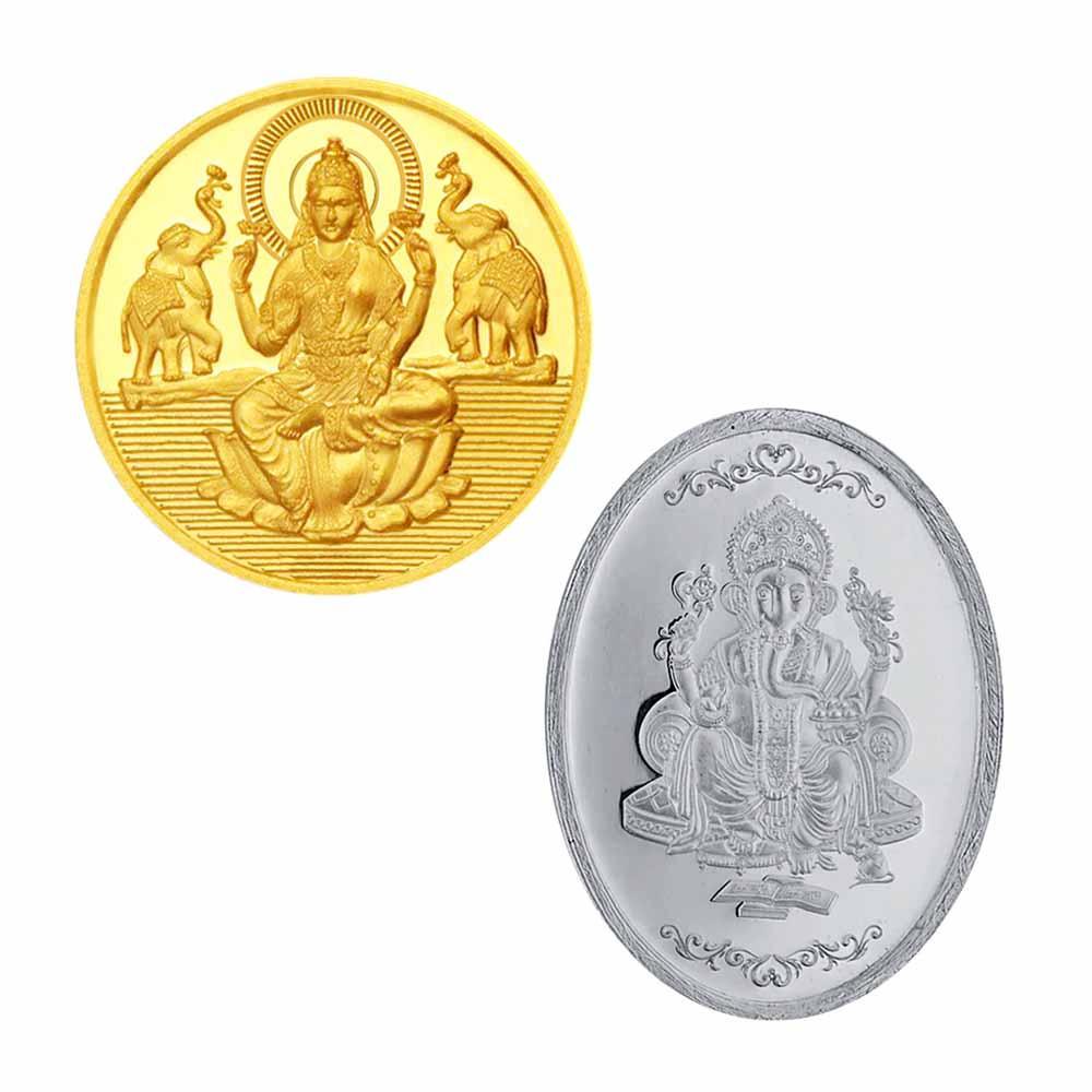 24KT 0.5 Gram Laxmi Gold Coin with 5 Gram Silver Coin Hamper