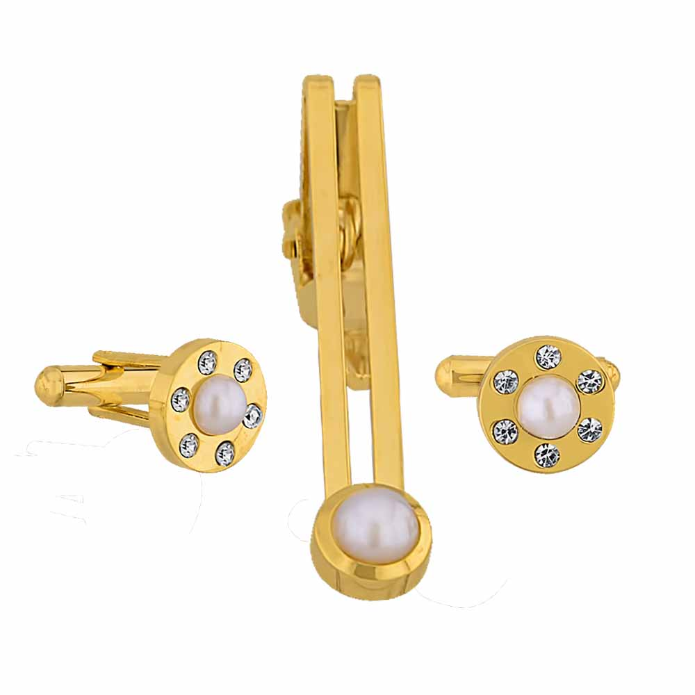 Cz with Pearl Cufflink & Tiepin set