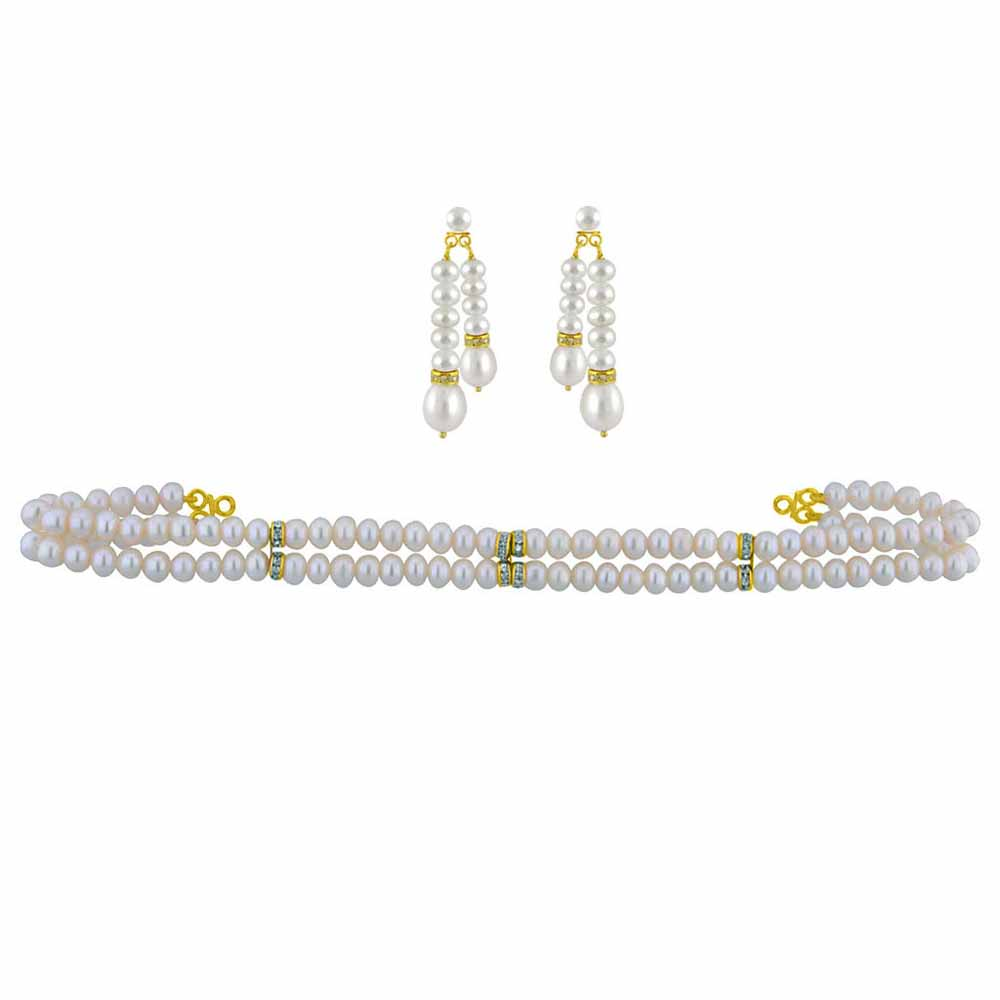 2 String Pearl Choker Set